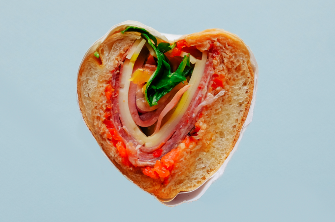 steve's deli, godfather, hoagie, heart, sandwich, valentine's day