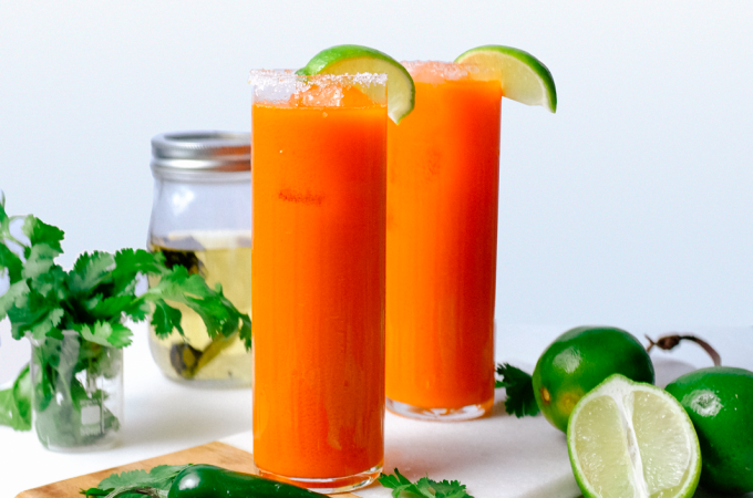 carrot, jalapeno, margarita, cocktail recipe, summer cocktail, juicing, healthy drinks, champion juicer