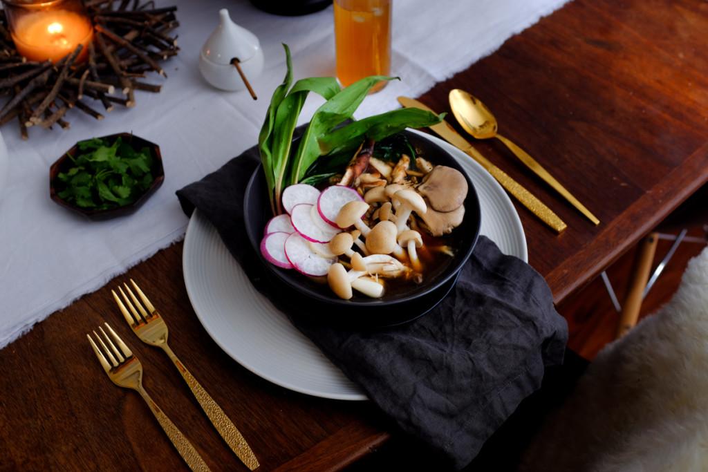 mushroom, barley, soup, vegan, vegetarian, ramps, pennsylvania