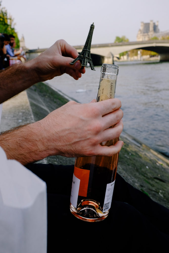 Paris Lunch on the Seine with a bottle of rose