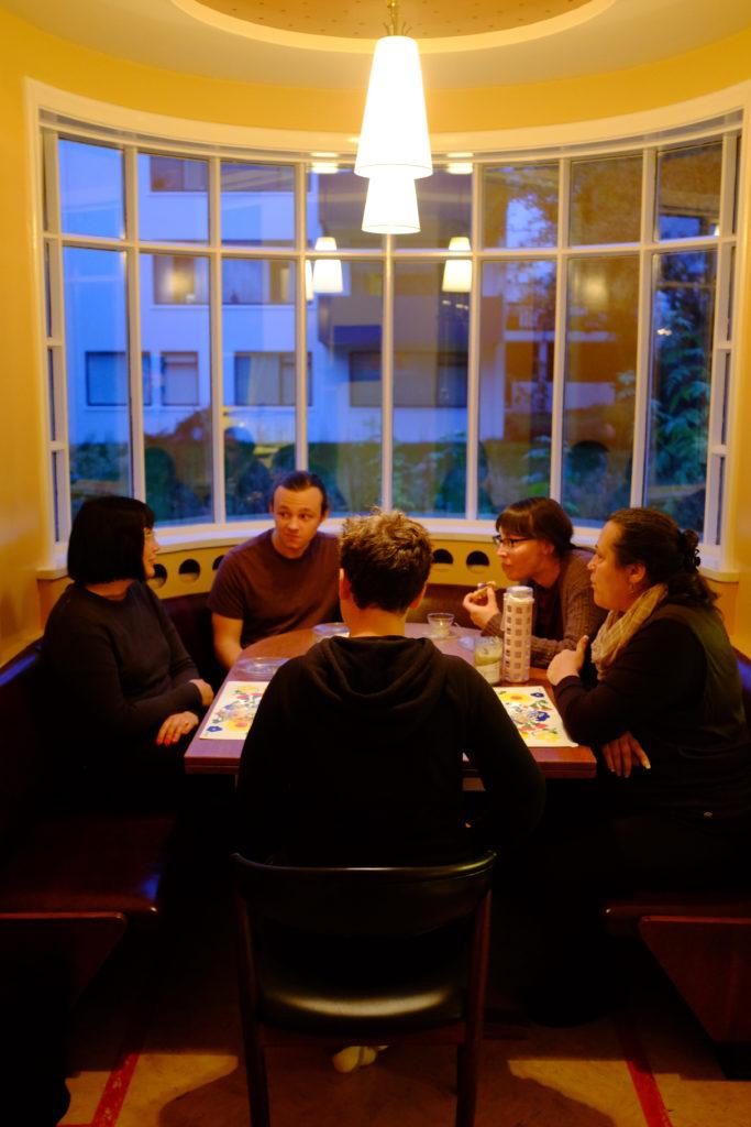 Family in Mid-century Modern Kitchen Airbnb Reykjavik Iceland