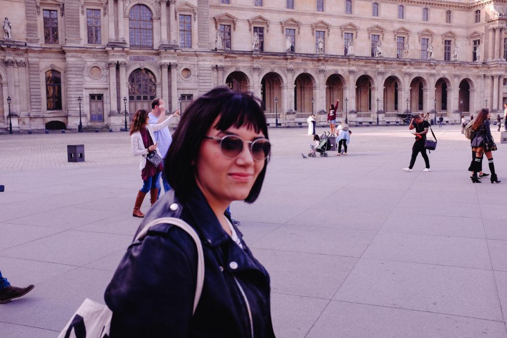 Maggie Outside the Musee Louvre Schott Leather