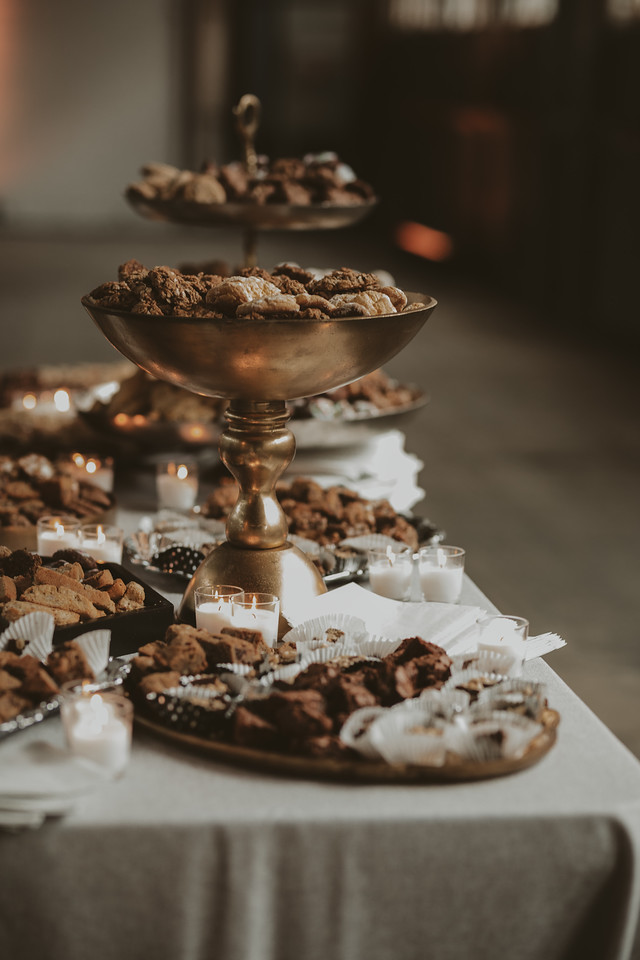 fall wedding oxblood dahlias bohemian industrial cookie table