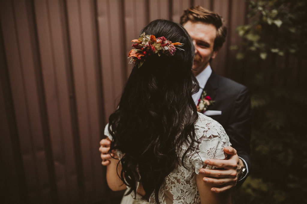 fall wedding oxblood dahlias bohemian industrial