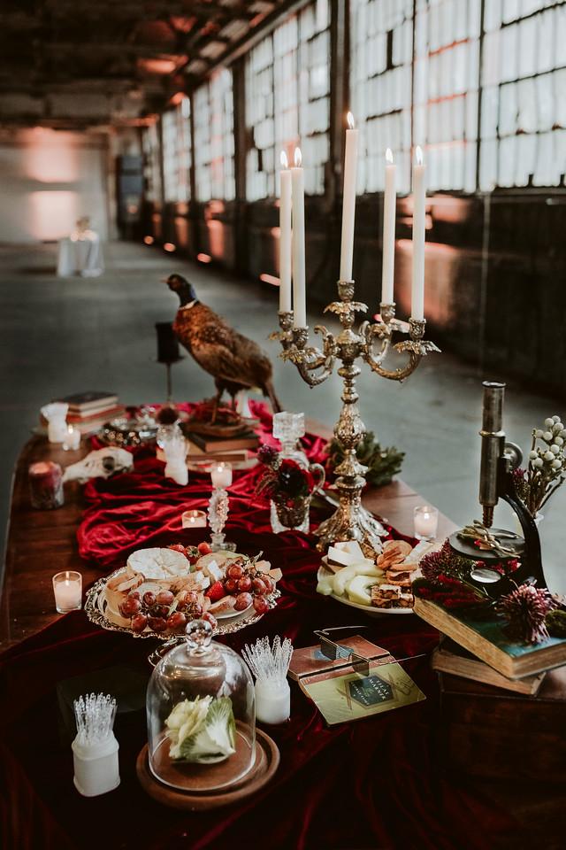 fall wedding oxblood dahlias bohemian industrial dutch still life