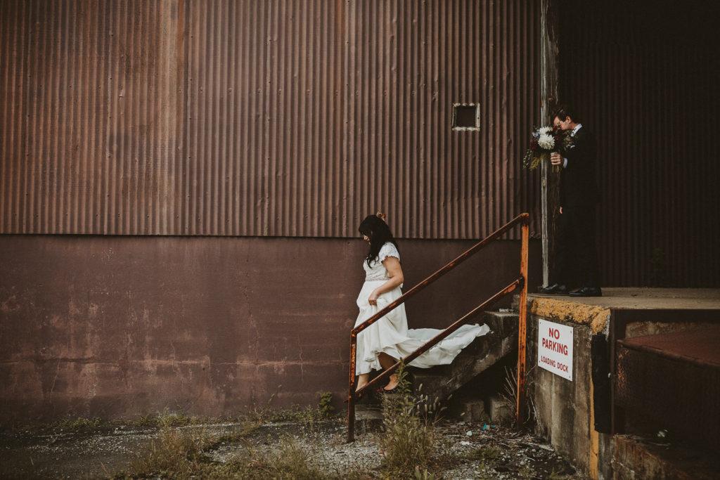 fall wedding oxblood dahlias bohemian industrial